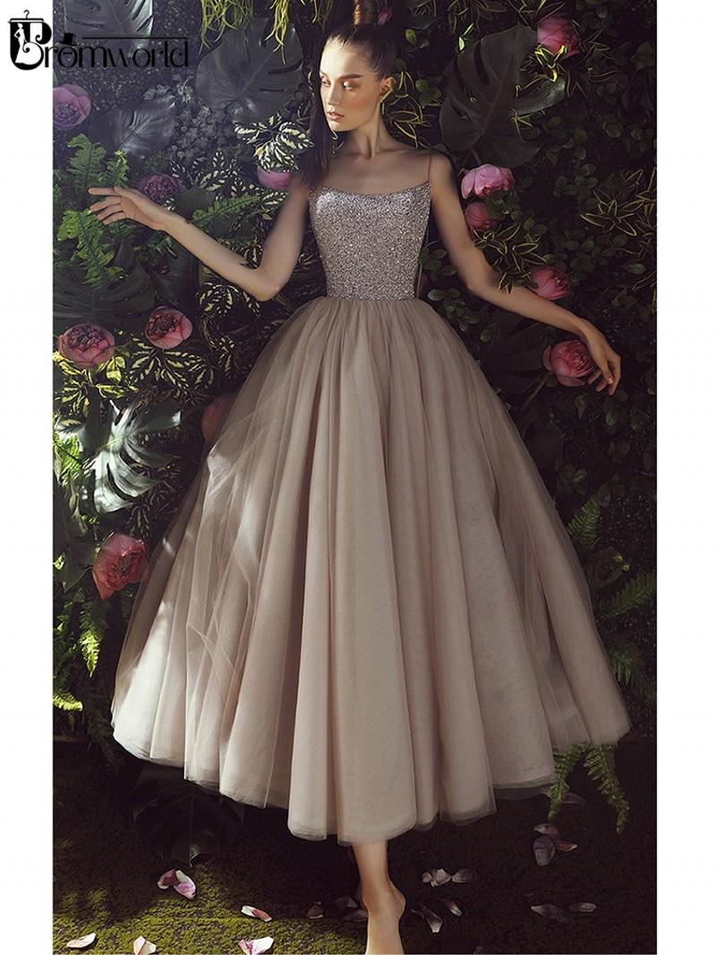Spaghetti Straps A-Line Prom Dresses 2020 Sequin Beading Bodice Tulle Tea Length Vestidos De Graduacion Evening Party Dress