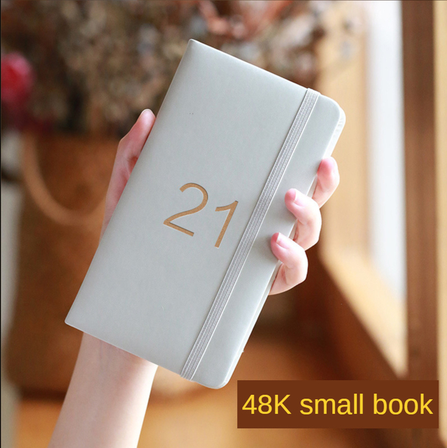 2021 Mini Calendar Notebook Portable Pu Small Notebooks Planner Daily Punch Card Notepad Annual Cuaderno Journal Libretas Zeszyt