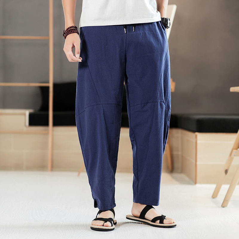 Summer Chinese-style Loose Pants Nepal Bloomers Large Crotch Plus-sized Large Size Loose-Fit MEN'S Long Trousers Casual Pants