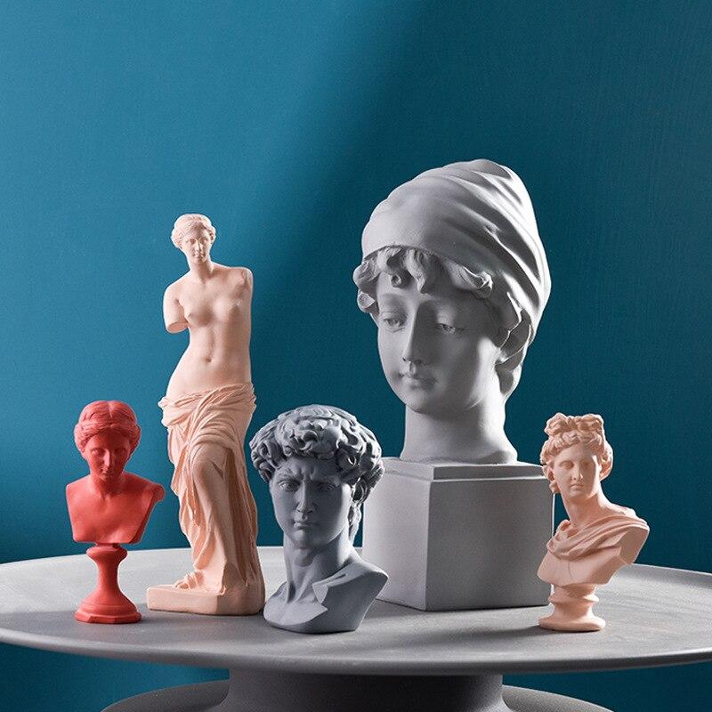 Nordic Venus Statue Resin Gypsum Head Sculpture David Apollo Portrait Home Decoration Accessories