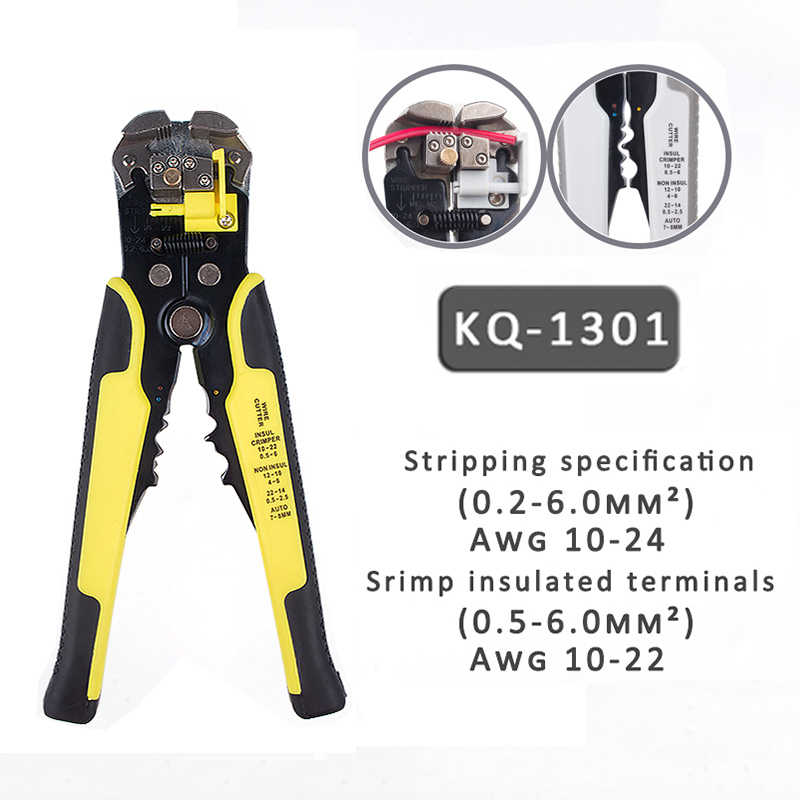 KQ1301 Auto Crimper Kabel Cutter Automatische Draad Stripper Multifunctionele Strippen Gereedschap Krimptang Terminal 0.2-6.5mm