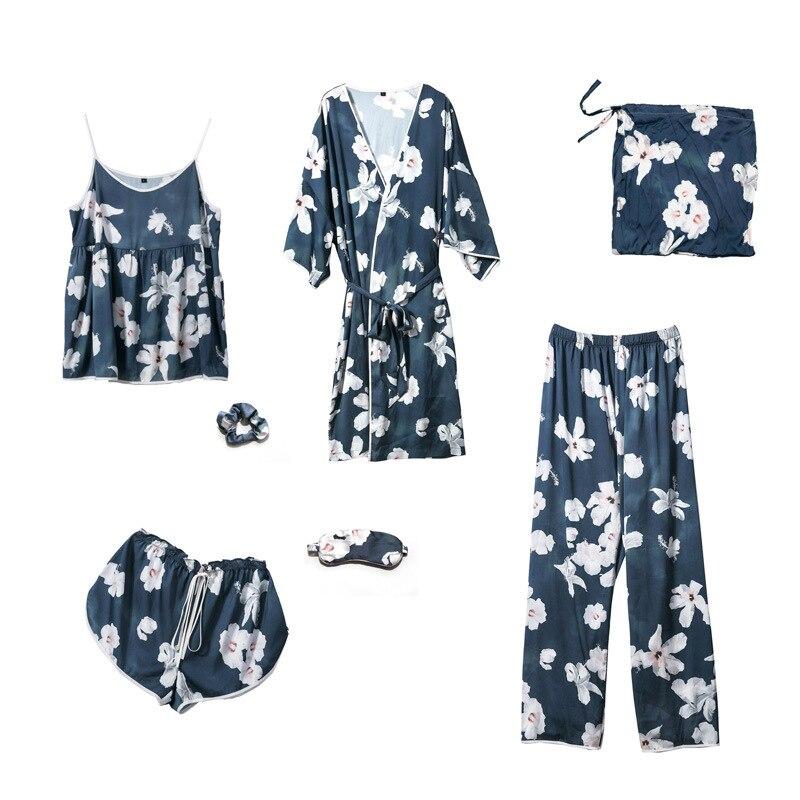 Youhottest Silk Pajamas Sets Women Sexy Robes 5pieces Suits Women Lingerie Set
