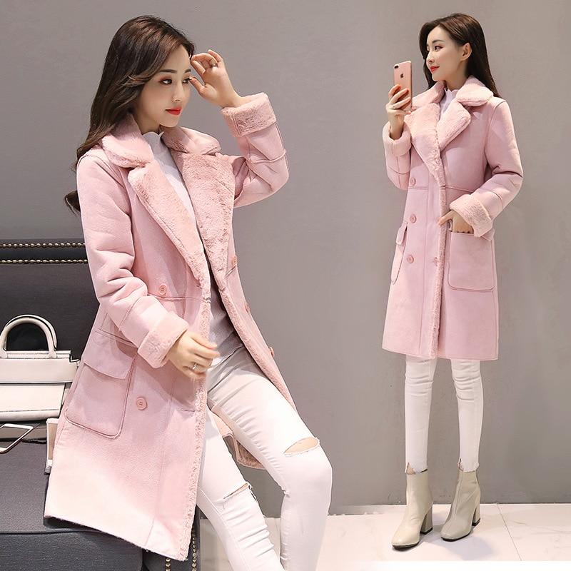 Femmes daim fourrure hiver manteau nouvelle mode épaisse fausse peau de mouton longue veste pardessus femme solide chaud Trench manteau - 3