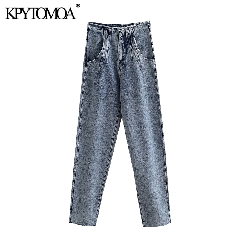 Vintage Stylish Washed Effect High Waisted Jeans Women 2020 Fashion Zipper Fly Pockets Female Denim Pants Casual Ankle Trousers