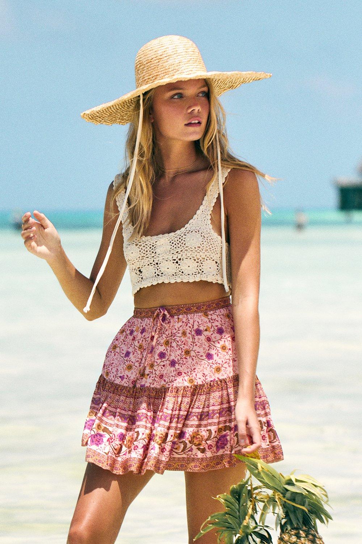 Tie style Blouse top skirt Paisley Print Summer Fashion Mini micro skirt top Boho gypsy fashion mini Skirt Beach wear mini skirt top