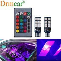 2X T10 RGB Multi Farben Ändern Glühbirne Bunte Auto Innen Licht Fernbedienung Auto Led Girlande Dome Lesen Licht Stamm lampe