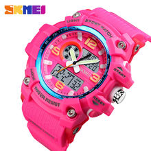SKMEI Outdoor Sports Watch Men Women Fashion Dual Display Digital Wristwatch Outdoor 3 Time Ladies Waterproof Watches Hour Date(China)