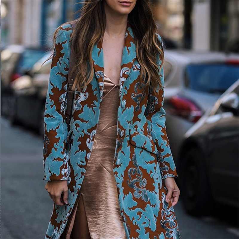Jas Vrouwelijke 2019 Vrouwen Herfst Winter Vintage Print Slanke Jas Plus Size Vest Lange Jas Chinese Nationale Geul Bovenkleding