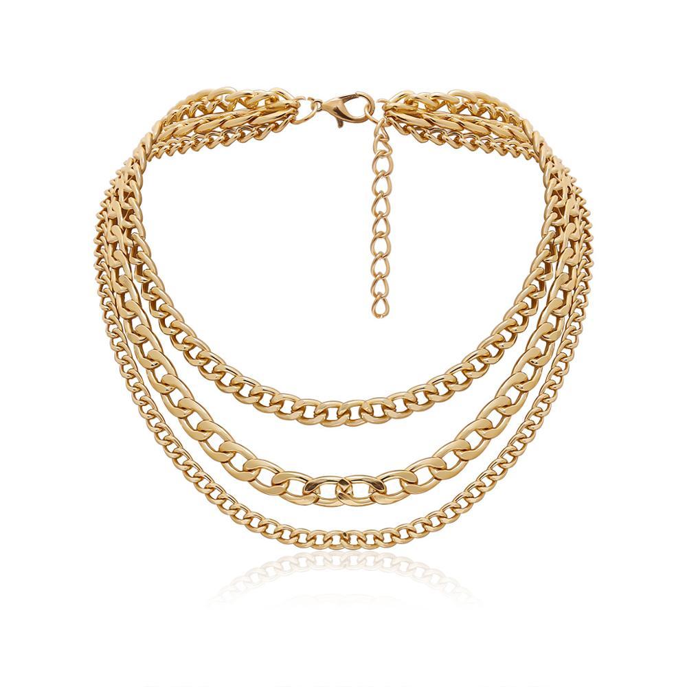 KMVEXO Punk Metal Multi layer Thick Chain Choker Necklace For Women Men Goth Fashion Night Club Jewelry Female Chocker Collier