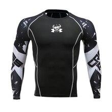 Мужская футболка для фитнеса с длинным рукавом, Рашгард, бодибилдинг, облегающая компрессионная рубашка, эластичные спортивные топы для спортзала, бега, одежда для велоспорта