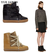 Shoes Snow-Boots Shearling-Botas Winter Casual Women Feminina Lace-Up Ankle Size-42 Chaussures