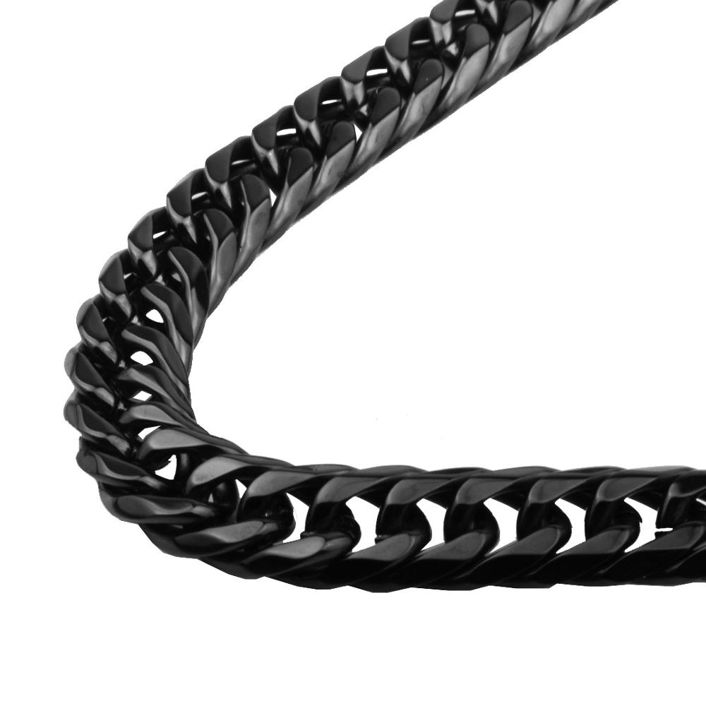 9 11 13 16 19 21mm Wide Classic Black Color Stainless Steel Curb Cuban Chain Necklace Choker Charm Women Men Neck Chic Jewelry in Chain Necklaces from Jewelry Accessories