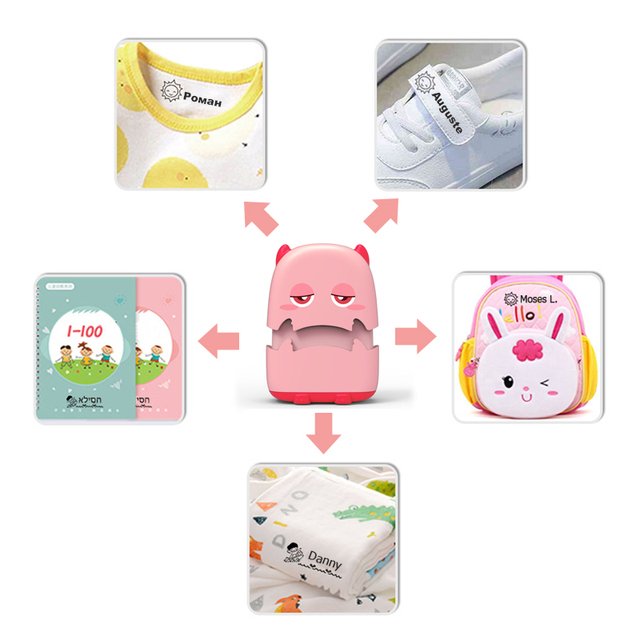 Baby Name Stamp Custom-made DIY Gift for Children Seal Student Clothes Chapter Not Easy to Fade Security Cute Monsters Toy 2