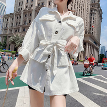 Casual Vintage Female Jacket Spring Autumn Women Loose Streetwear Clothes Womens Denim with Belt White Coat