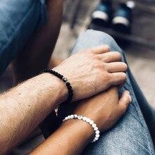 Pulseiras artesanais de A-Z, braceletes para homens e mulheres, joias para casal, 6mm, contas pretas e brancas, presentes para namorados, namorados