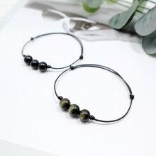 Rope Leather Bacelet Natural Stone Eye Obsidian Bracelets Simple Crystal Adjusta