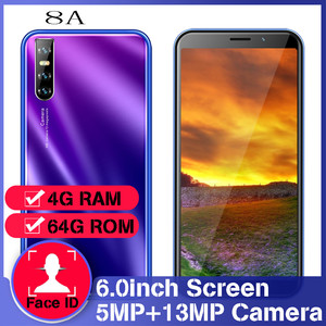 """8A 6.0"""" Global version quad core smartphones 13MP 18:9 4GB RAM 64GB ROM face ID unlocked mobile phones android cheap celulares"""