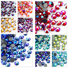 SS6-SS30 Multi-color Crystal AB Hot Fix Rhinestone Crystal Super Glitter Strass Iron On Rhinestones For Nail Art Fabric Garment