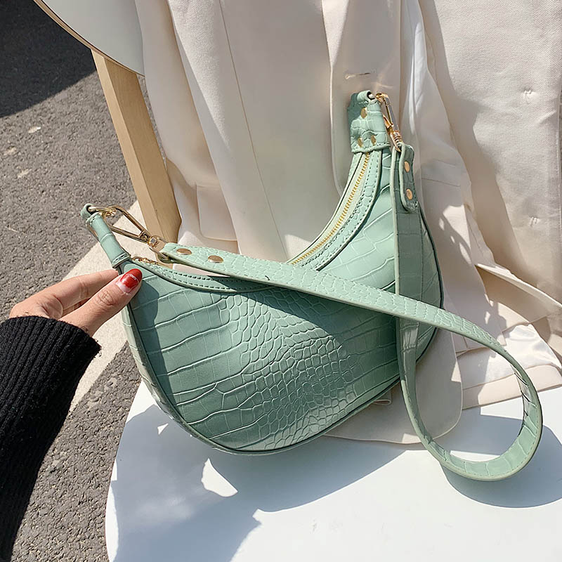 Stone Pattern PU Leather Crossbody Bags For Women 2020 Summer Small Green Shoulder Messenger Bag Lady Handbags And Purses