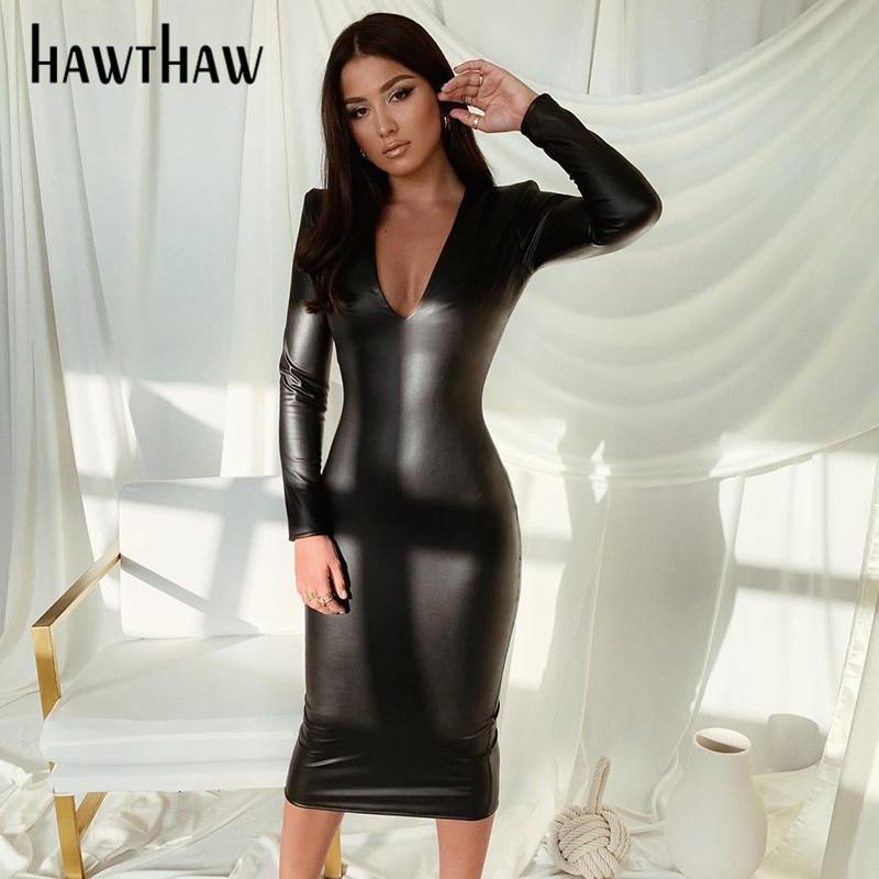 Hawthaw Frauen Herbst Winter Langarm V-ausschnitt Pu Beschichtung Bodycon Schlank Soild Farbe Prncil Kleid 2021 Herbst Kleidung Streetwear