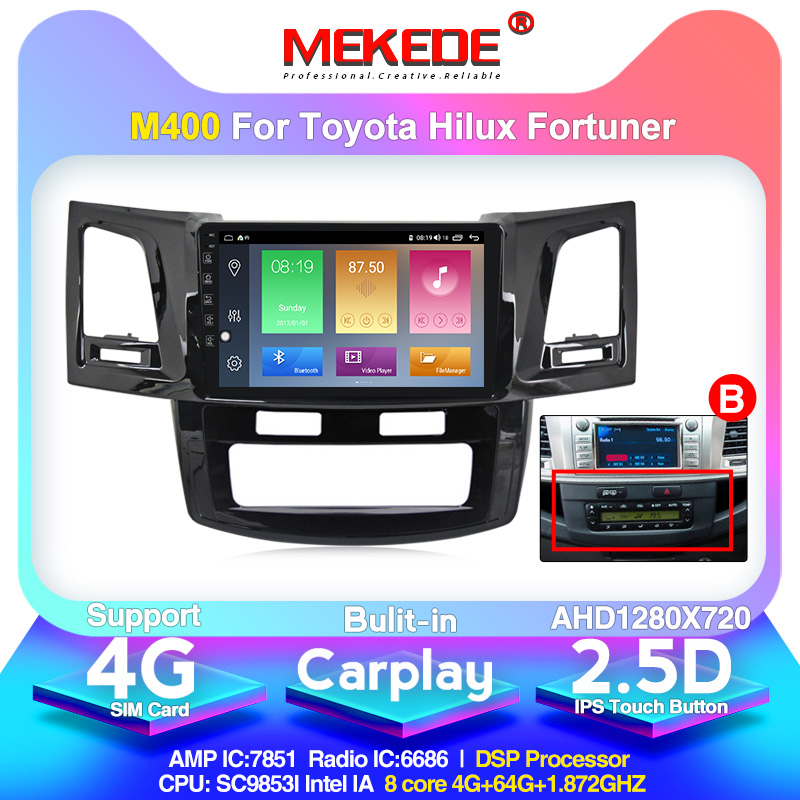 MEKEDE Android 10.0 4G Car Radio Multimedia Video Player Navigation GPS For Toyota Fortuner AN50 AN60 HILUX Revo Vigo 2008-2014