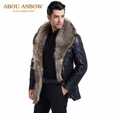 Abou 2019 Real Natural Fur Coats Winter Mens Leather Jacket With Real Raccoon Fur Lined Warm Business Luxury Outerwear(China)