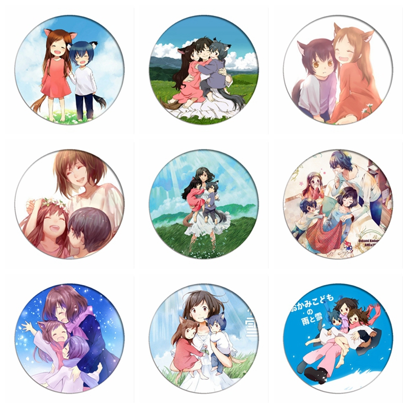 The Wolf Children Ame And Yuki Cosplay Badges Hana Brooch Icon Collection Bags Ame Yuki Breastpin For Backpacks Clothing