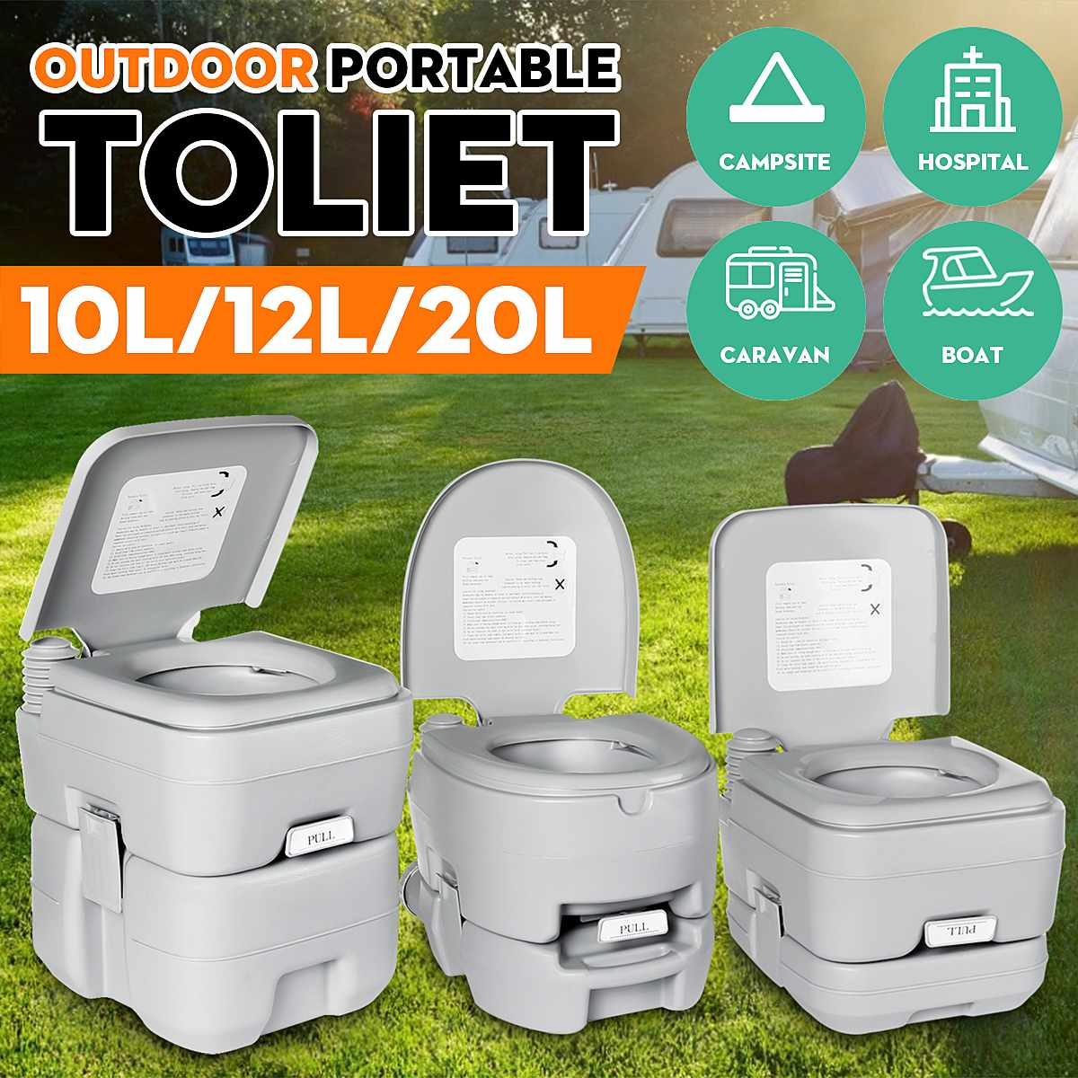 10L/12L/20L Portable Toilet Home Travel Outdoor Camping Commode Potty Indoor For Elderly For Boat Caravan Motor-home Campsite