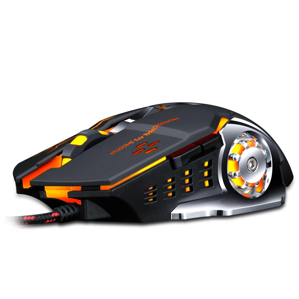Gaming Mouse 3200 Dpi Disesuaikan Kabel Optik 6 Tombol LED Komputer USB Kabel Silent Mouse untuk Laptop PC Game tikus