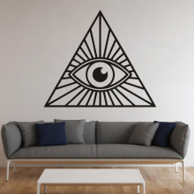 Illuminati Style Wall Decal Home Living Room Decoration  All Seeing Eye Vinyl Sticker Pyramid Murals