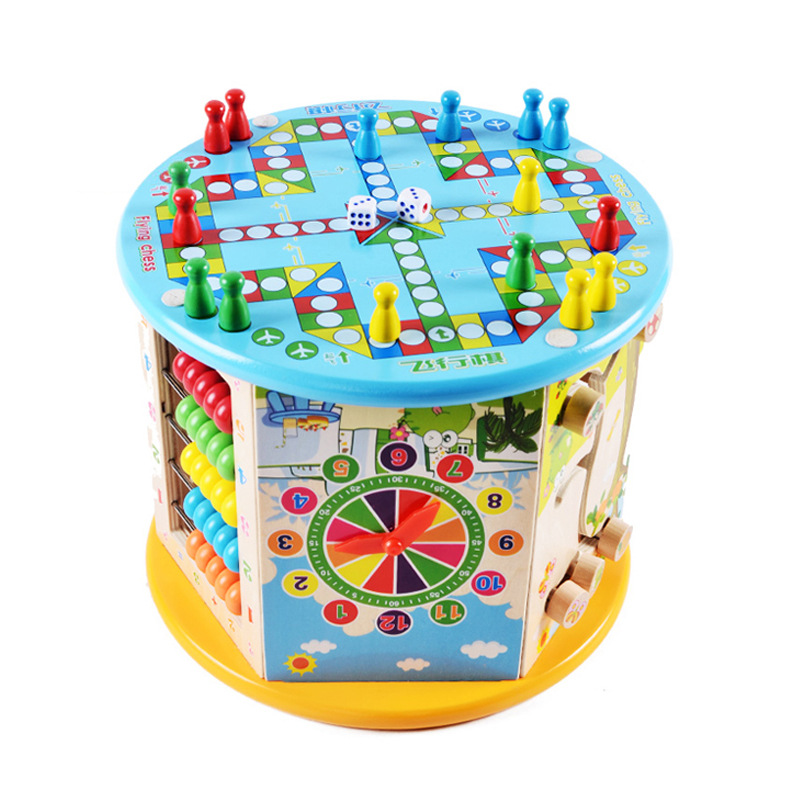 Music-Treasure Chest Children Wooden Multi-functional Hexahedral Beaded Bracelet Bead Maze Cube Baby Educational Force Toy