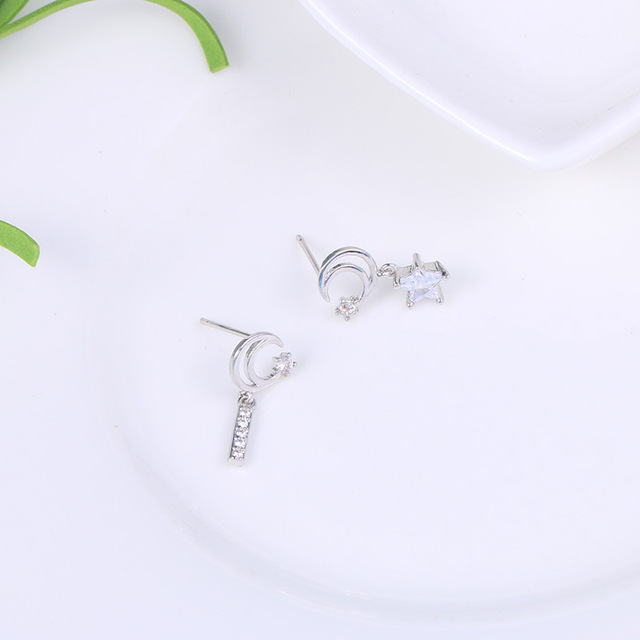 WEIMANJINGDIAN 2020 New Trends Exquisite Cubic Zirconia CZ Moon and Star Drop Earrings