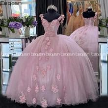 2021 rosa doce 16 quinceanera vestidos de baile elegante v pescoço frisado flores apliques longo baile vestidos festa 15 anos