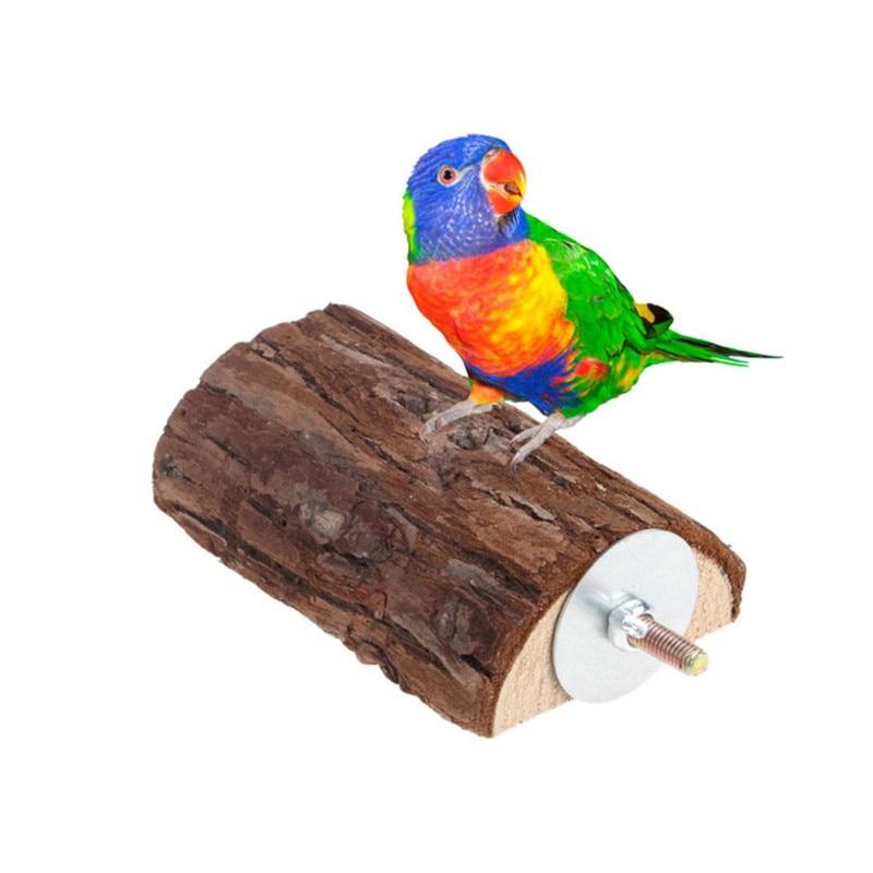 Durable Parrot Bird Perch Toy Wooden Stand Holder Platform Squirrel Chinchilla Hamster Rack Cage Toy Accessories Birds Supplies