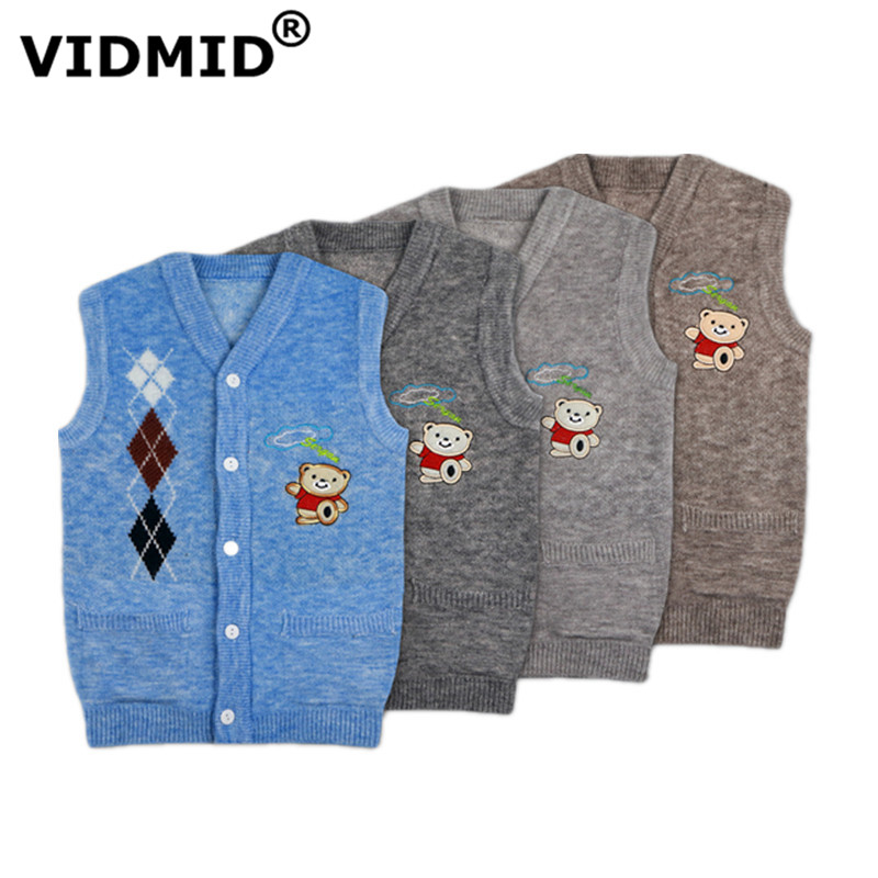 VIDMID Baby Boys Girls Children Vests Cotton Autumn Kids Vest Girls Waistcoat Children Boys Bear Casual Vests Waistcoats 7091 01