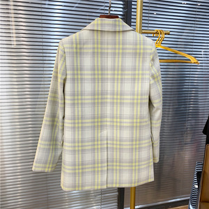 Image 3 - Women Coat 2019 Autumn and Winter Cute Yellow Large Plaid Wool Suit