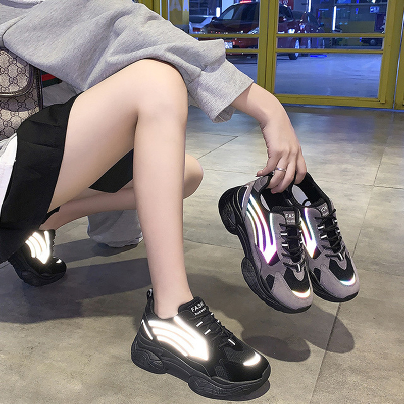 Reflective Stripes Shoes Women Black Shoes Korean Designer Sneakers Female Chunky Platform Sneakers Reflective Chaussures Femme