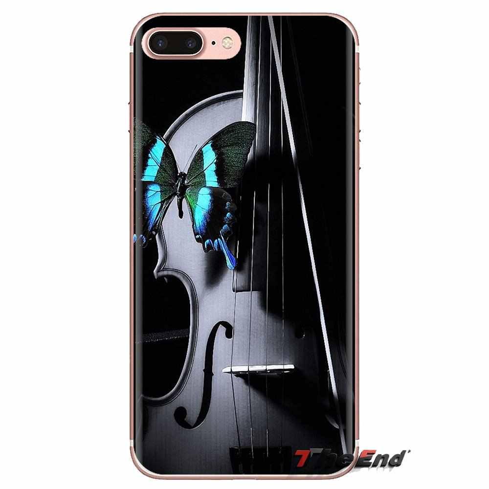 Violon noir Élégant Boîtier En Silicone étui pour iphone XS Max XR X 4 4S 5 5S 5C SE 6 6S 7 8 Plus Samsung Galaxy J1 J3 J5 J7 A3 A5
