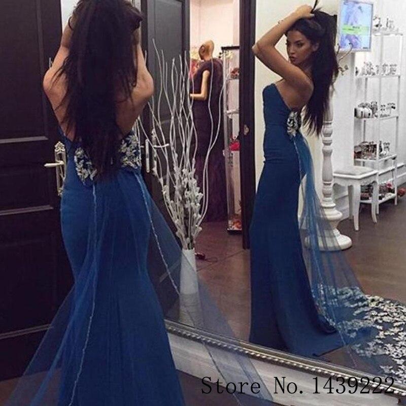 Blue Mermaid Strenchable Satin Evening Dresses Sweetheart Bow Appliques Vestidos De Fiesta De Noche Robe De Soiree Plus Size