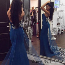 Blue Mermaid Abiti Da Sera In Raso Strenchable Sweetheart Bow Appliques Abiti De Fiesta De Noche Robe De Soiree Plus Size(China)