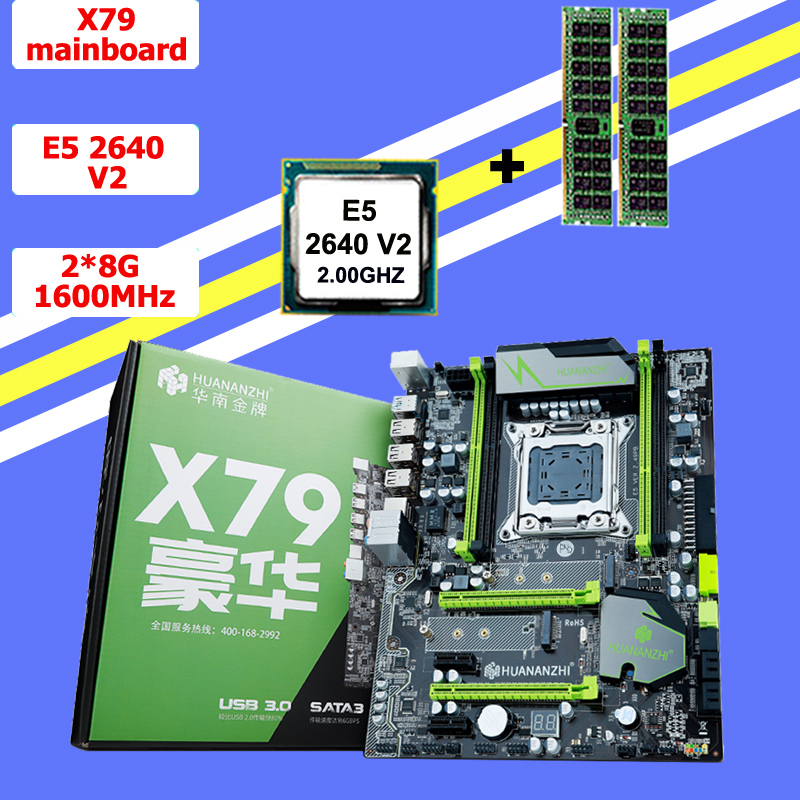 !!!HUANAN <font><b>V2</b></font>.49 X79 motherboard CPU RAM combos <font><b>Xeon</b></font> <font><b>E5</b></font> <font><b>2640</b></font> <font><b>V2</b></font> CPU (2*8G)16G DDR3 RECC memorry all good tested 2 years warranty image