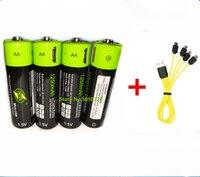 ZNTER 1,5 V AA Аккумуляторная батарея 1250mAh USB перезаряжаемая литий-полимерная батарея Быстрая зарядка через кабель Micro USB