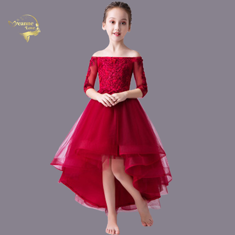 Flower     Girl     Dresses   For Wedding With 3/4 Long Sleeves Lace Tulle Little   Girl   Christmas Party   Dress   Junior Bridesmaid   Dress   2-12Y