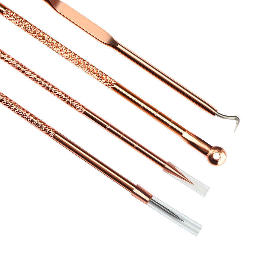Różowe złoto 4 sztuk/zestaw zaskórnika Comedone trądzik pryszcz Belmish Extractor odkurzacz do usuwania zaskórników narzędzie łyżka na narzędzie do pielęgnacji skóry twarzy