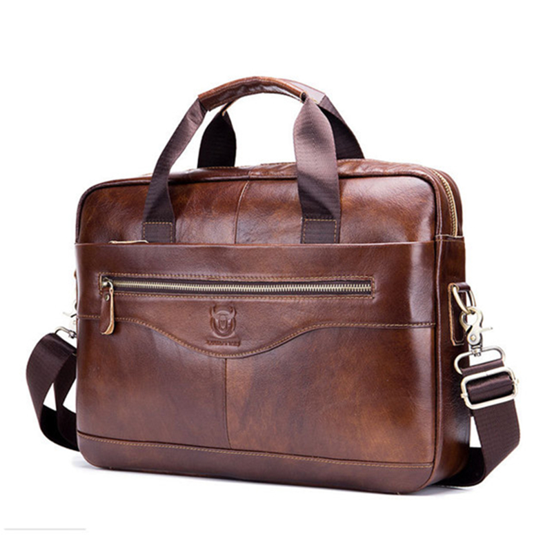 Men briefcase shoulder bag genuine leather business large space lawyer bag computer bag 14 inches high quality fabric 2 colors