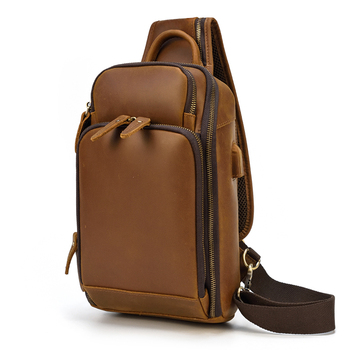 MAHEU Genuine Leather Chest Bag With USB Functional Sling Bag Chest Pack For Biker Outdoor Sport Biking Bag For Men Male