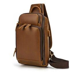 MAHEU sac de poitrine en cuir véritable avec USB sac à bandoulière fonctionnel sac de poitrine pour motard sac de vélo de Sport en plein air pour hommes hommes