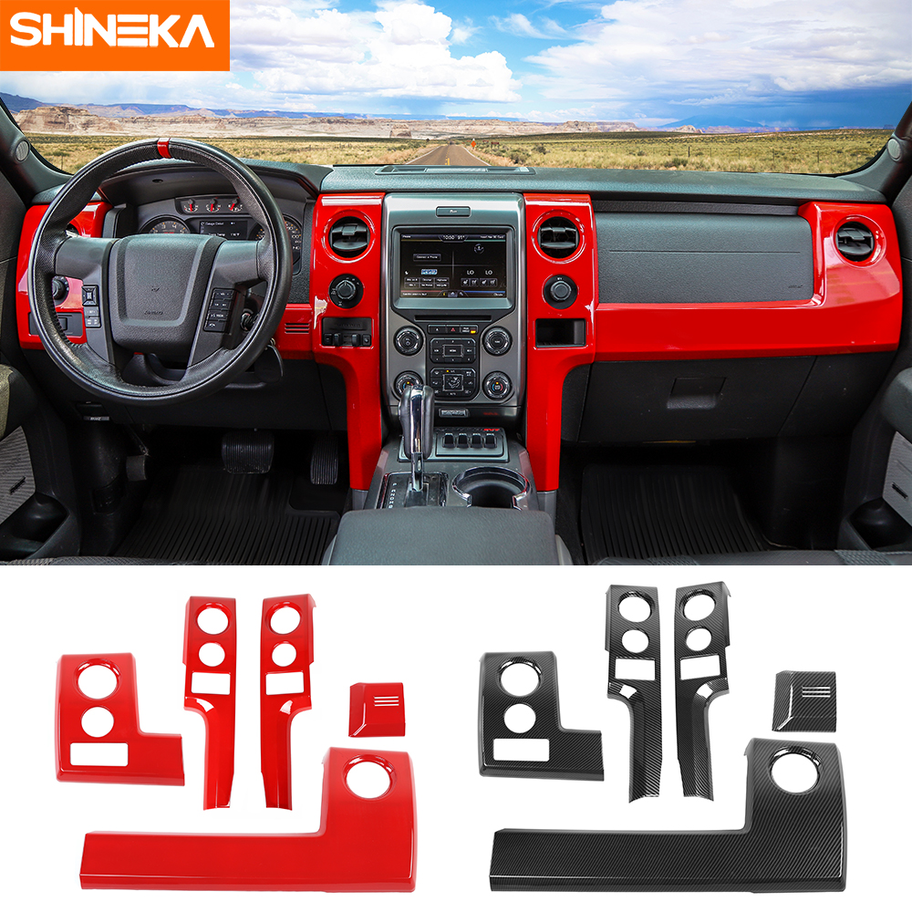 SHINEKA Interior Mouldings For Ford F150 Raptor Car Center Console Panel Decoration Stickers Kits For Ford F150 Raptor 2009-2014
