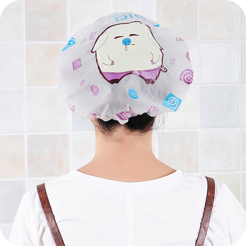 1PC Cute Cartoon Waterproof Shower Cap Thick Elastic Shower Cap Women's Hair Salon Bathroom Supplies Shower Cap