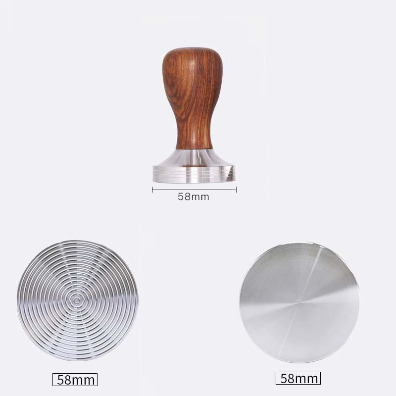 304 Stainless Steel Coffee Powder Hammer 49mm/51mm/53mm/58mm Wooden Handle Bean Tampers Flat Rippler Tamper Mat